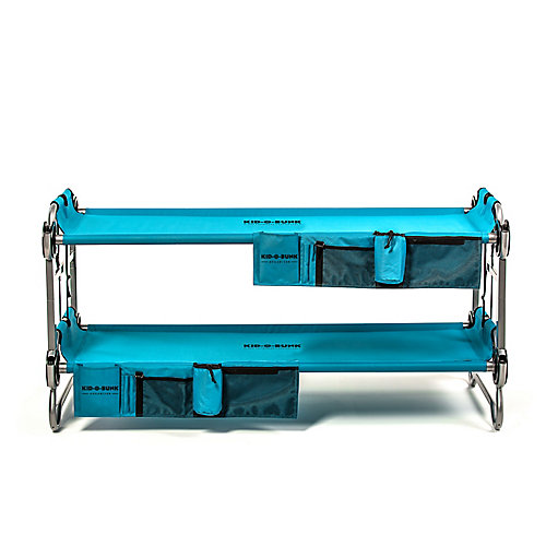 Kid-O-Bunk, Bunking Camp Cots with 2 Organizers, Teal Blue