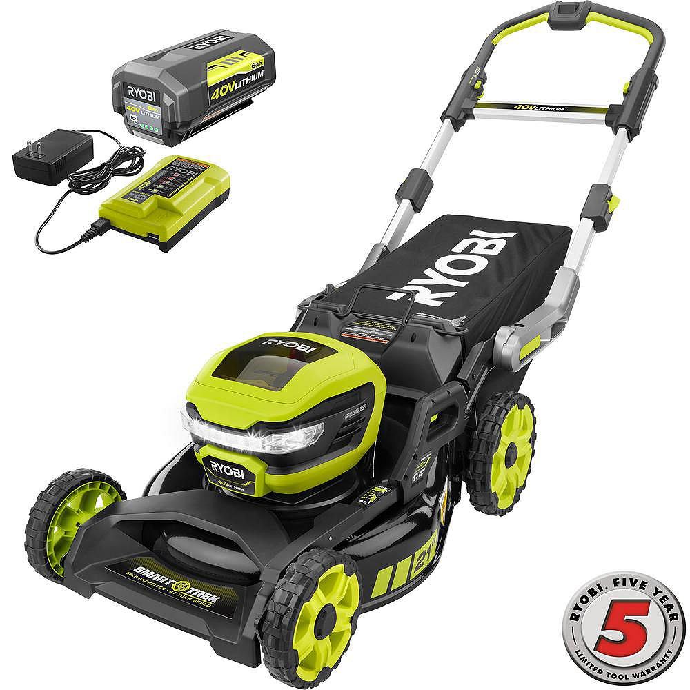 RYOBI 40V 21-Inch Brushless Cordless SMART TREK Self-Propelled Walk Behind Steel Deck Mower with 6.0Ah Battery