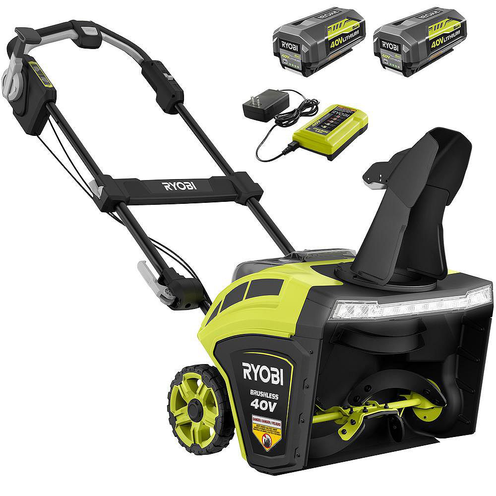 RYOBI 40V 21-inch Brushless Cordless Electric Snow Blower with (2) 5 Ah Batteries and Charger