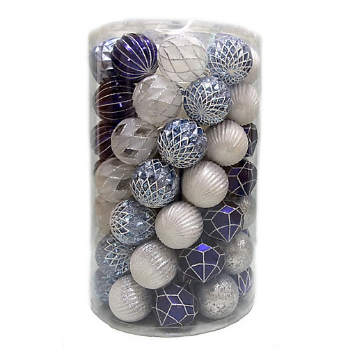WW 80mm Blue/White Shatterproof Ornament (Assorted 75-Pack)