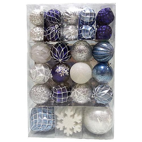 WW 80CT White/Silver/Blue Ornament Set