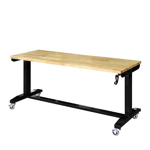 62 inch Adjustable Height Work Table, Black