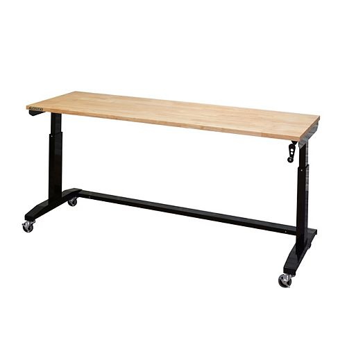72 inch Adjustable Height Work Table, Black