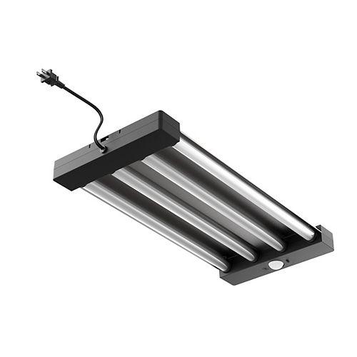 2 ft. 4-Light Gray/Black LED Motion Sensor Shop Light w/Pull Chain 5000 Lumen