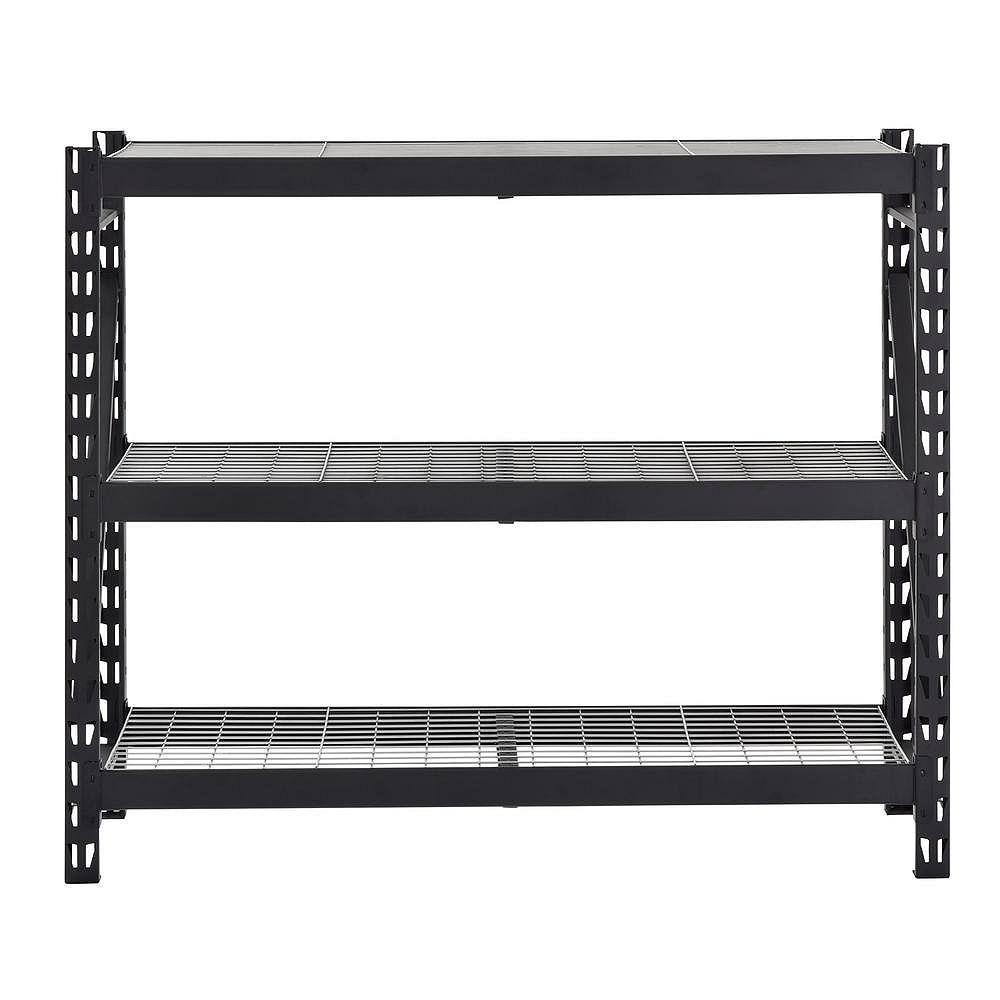 Husky Black 3-Shelf Heavy Duty Industrial Welded Steel Garage Shelving Unit (65 in. W x 54 in. H x 24 in. D)