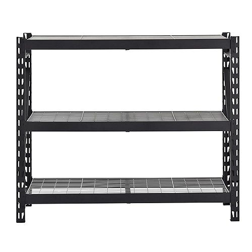3-Shelf Welded Steel Garage Storage Shelving Unit with Wire Deck in Black