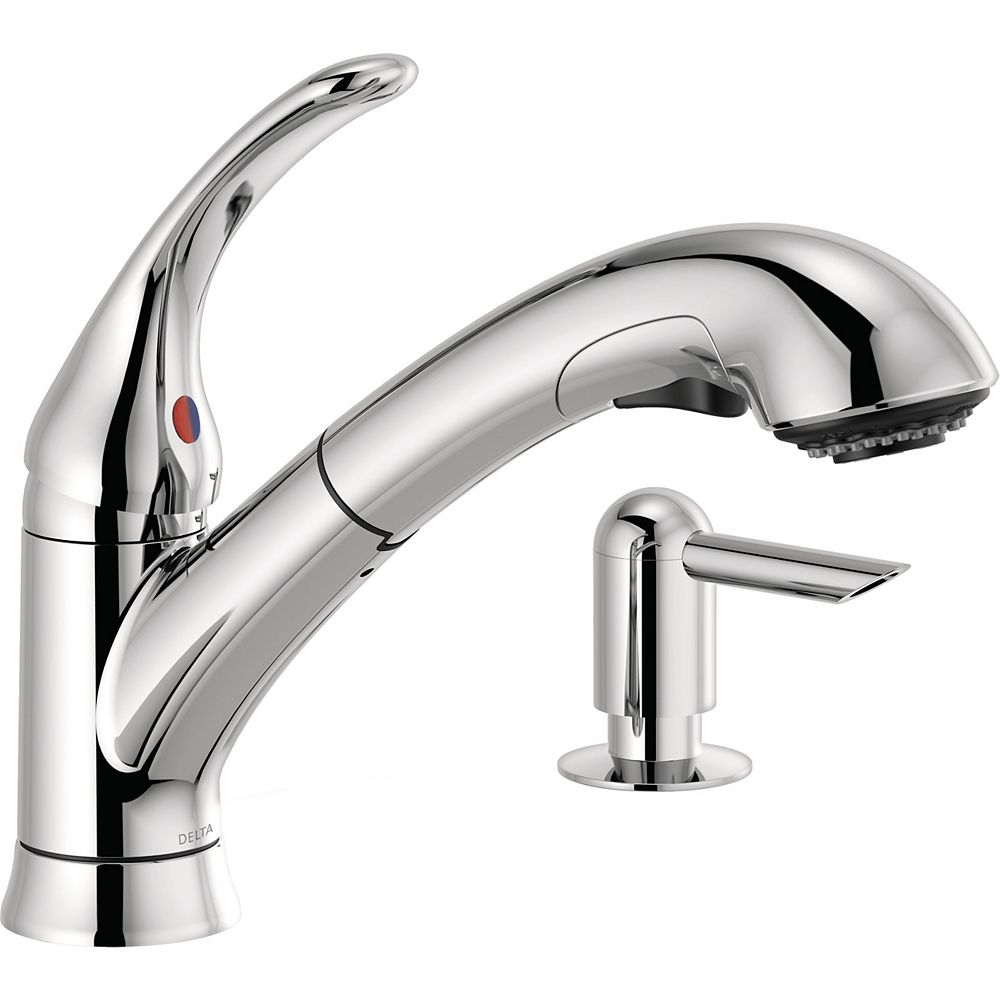Delta Foundations Single Handle Pull Out Kitchen Faucet With Soap Dispenser In Chrome The Home Depot Canada