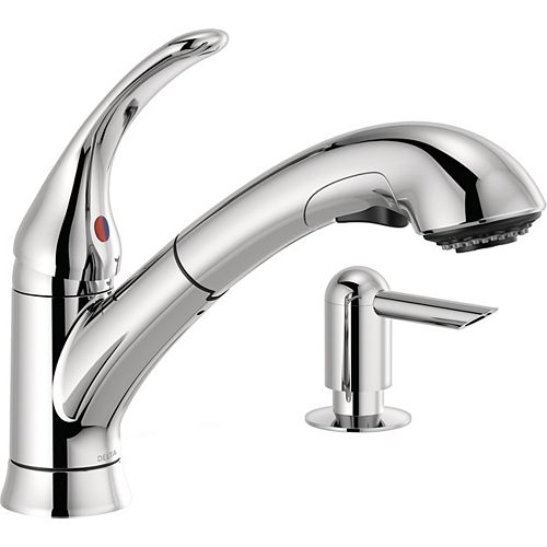 Foundations Single Handle Pull-Out Kitchen Faucet with Soap Dispenser in Chrome