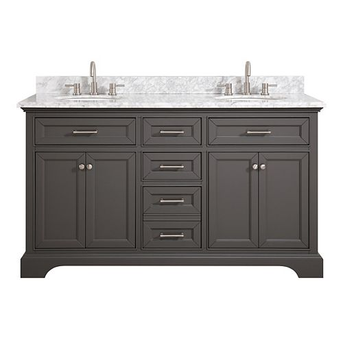 Home Decorators Collection Windlowe 61-inch Bath Vanity in Grey with Carrara Marble Top in White