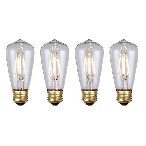 Vintage 4W Clear Glass Filament LED Light Bulb (4-Pack)