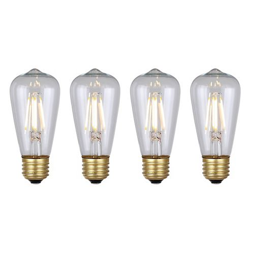 Vintage 4W Clear Glass Filament LED Light Bulb (4-Pack)