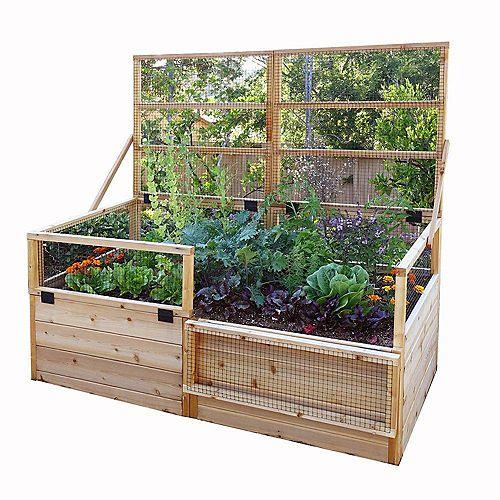 Jardinière surélevée 6 pi x 3 pi en cèdre avec treillis rabattable