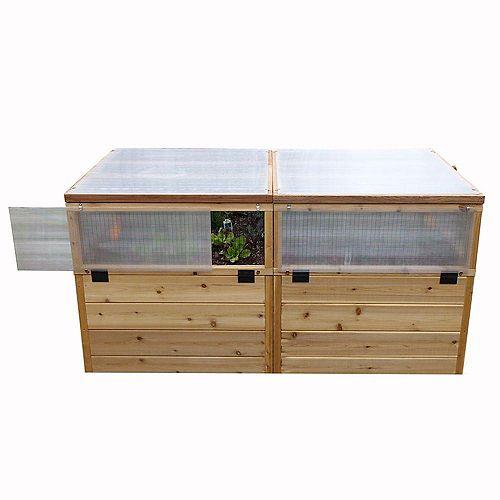 Jardinière surélevée 6 pi x 3 pi mini serre en cèdre combiné avec un lit surélevé de jardin