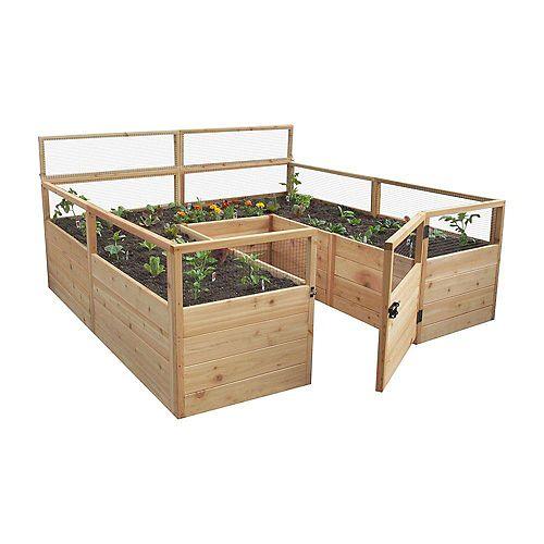 Jardinière surélevée 8 pi x 8 pi en cèdre