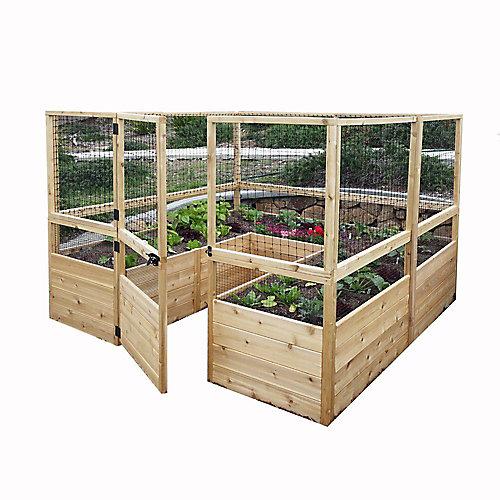 8 ft. X 8 ft.  Raised Garden Bed W/Deer Fence Option