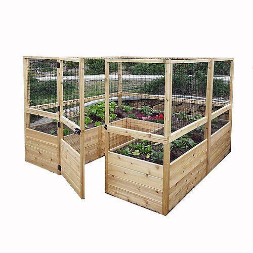 Jardinière surélevée 8 pi x 8 pi en cèdre avec clôture à chevreuil
