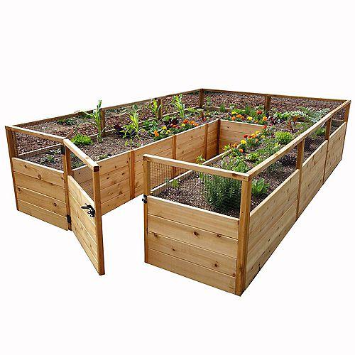 Jardinière surélevée 8 pi x 12 pi en cèdre