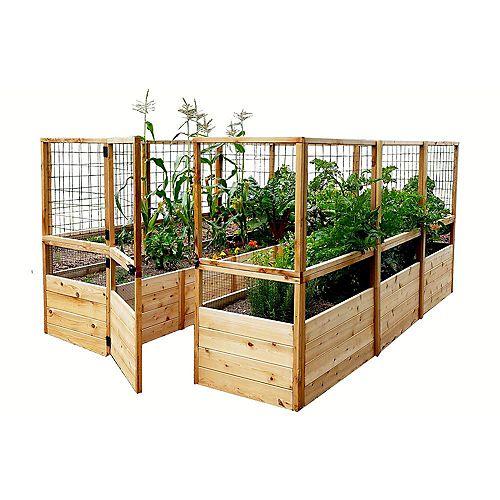 Jardinière surélevée 8 pi x 12 pi en cèdre avec clôture à chevreuil