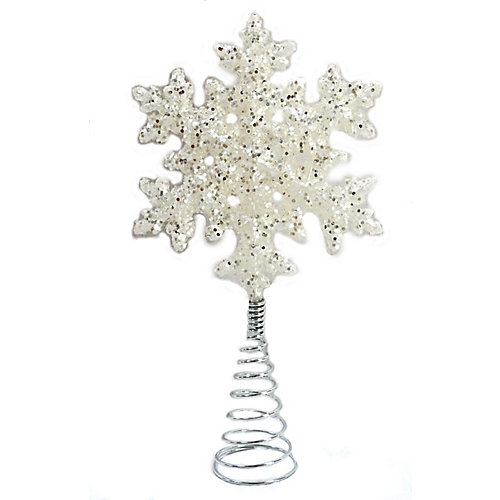 WW 14.5 inch White Glitter Snowflake Tree Topper