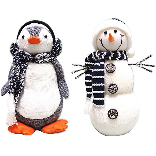 16 inch Fabric Snowman and Penguin Assorted