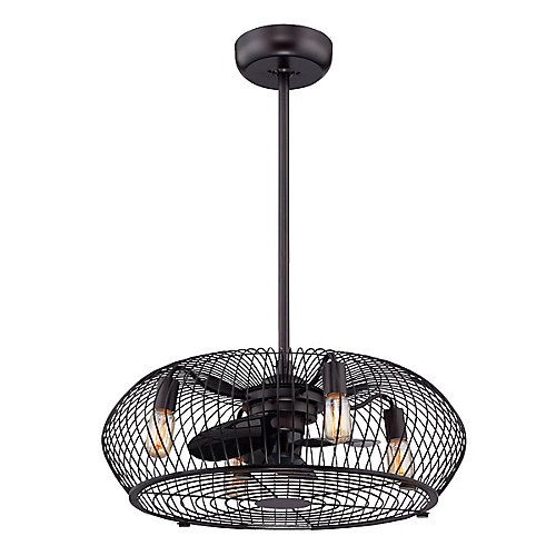 Industrial Aged Bronze 4-Light Chandelier with Fan