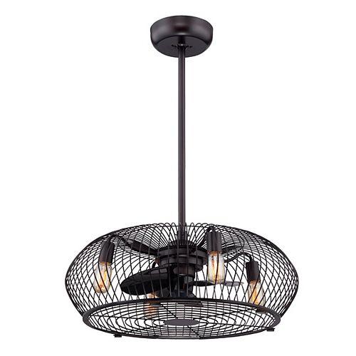 Industrial Aged Bronze 4-Light Chandelier with Fan