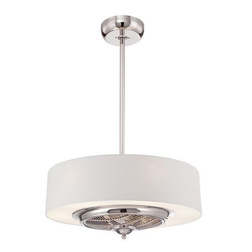 Polished Nickel and White LED Chandelier with Fan