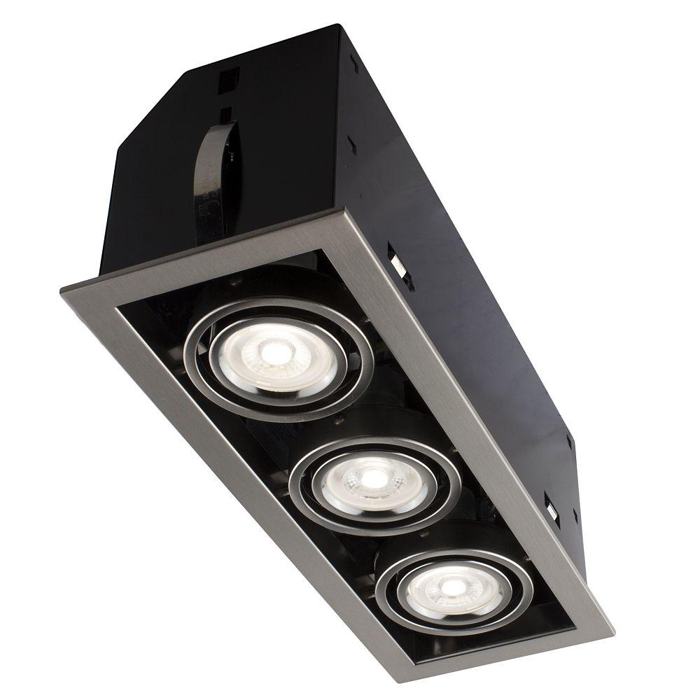 Bazz Encastré Lumière LED 3-Lumières série Cube LED Chrome Brossé