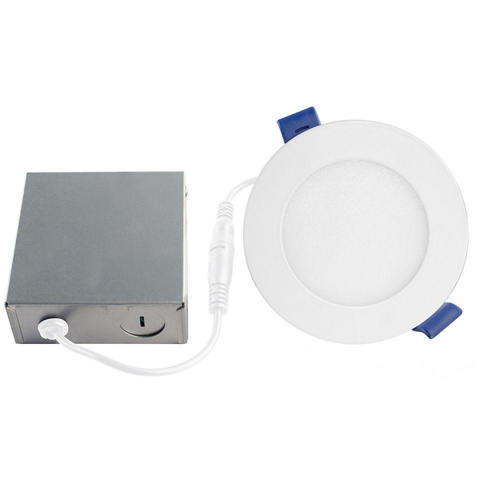Bazz Disk Slim - Ensemble de luminaires encastrés à LED de 4 ¼ po, blanc mat