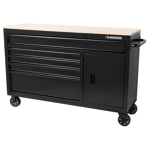 Husky 56-inch 5-Drawer Mobile Tool Storage Work Centre in Black