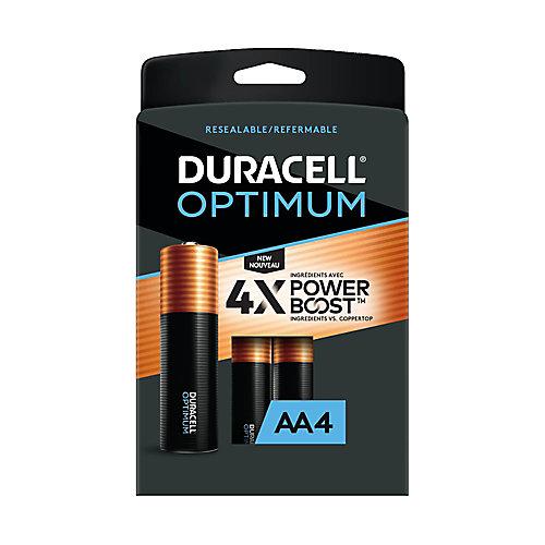 Piles alcalines AA Duracell Optimum 1,5 V Emballage refermable pratique, pack de 4