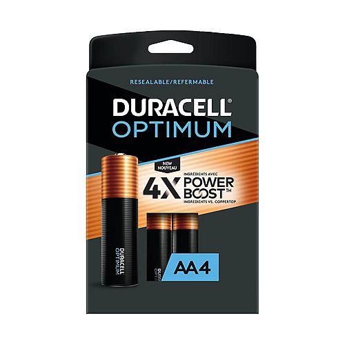Duracell Optimum 1.5V Alkaline AA Batteries, Convenient, Resealable Package, 4 count