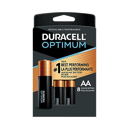 Piles alcalines AA Duracell Optimum 1,5 V Emballage refermable pratique, pack de 8