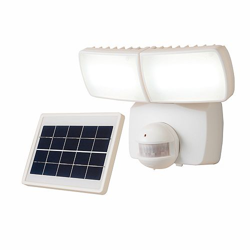 180-Degree White Motion Activated Outdoor Solar Powered Integrated LED Twin Head Flood Light