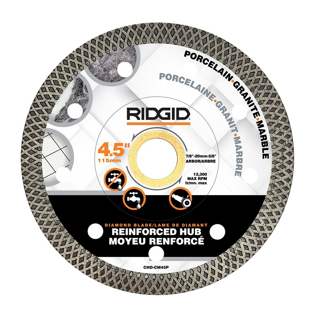 RIDGID 4.5-inch Continuous Rim Diamond Blade with Mesh Rim
