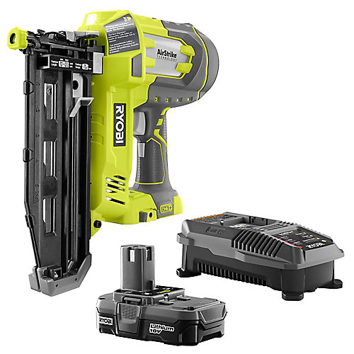 18V ONE+ Lithium-Ion Cordless AirStrike 16ga 2-1/2-inch Finish Nailer Kit with Battery and Charger