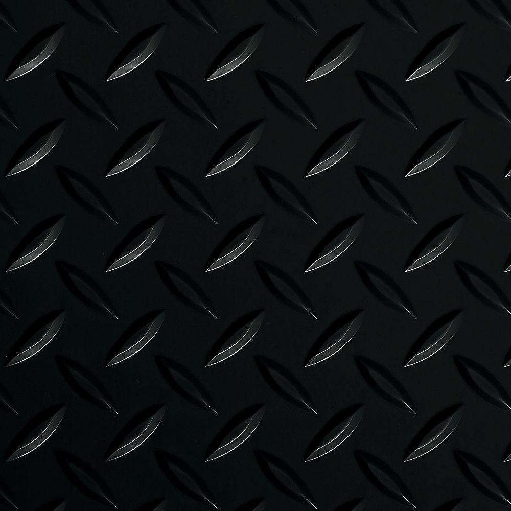 G-Floor Revêtement de sol de garage de qualité commerciale, 5 pi x 10 pi, vinyle, Diamond Tread, noir minuit