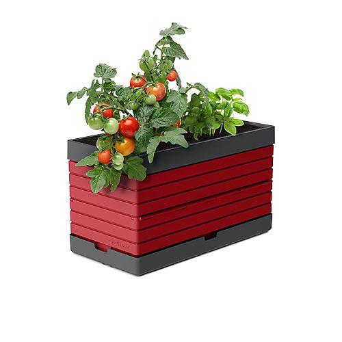 PMGRG-  Bac pour jardin modulaire, rouge - Idéal pour les balcons