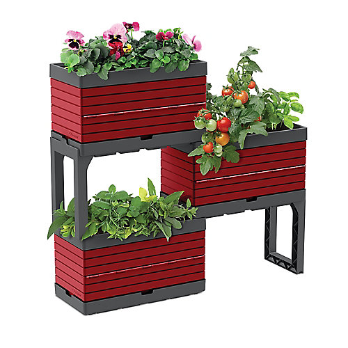 Modular Garden, 3 Planters and 2 Legs kit, red  Perfect for balcony gardens