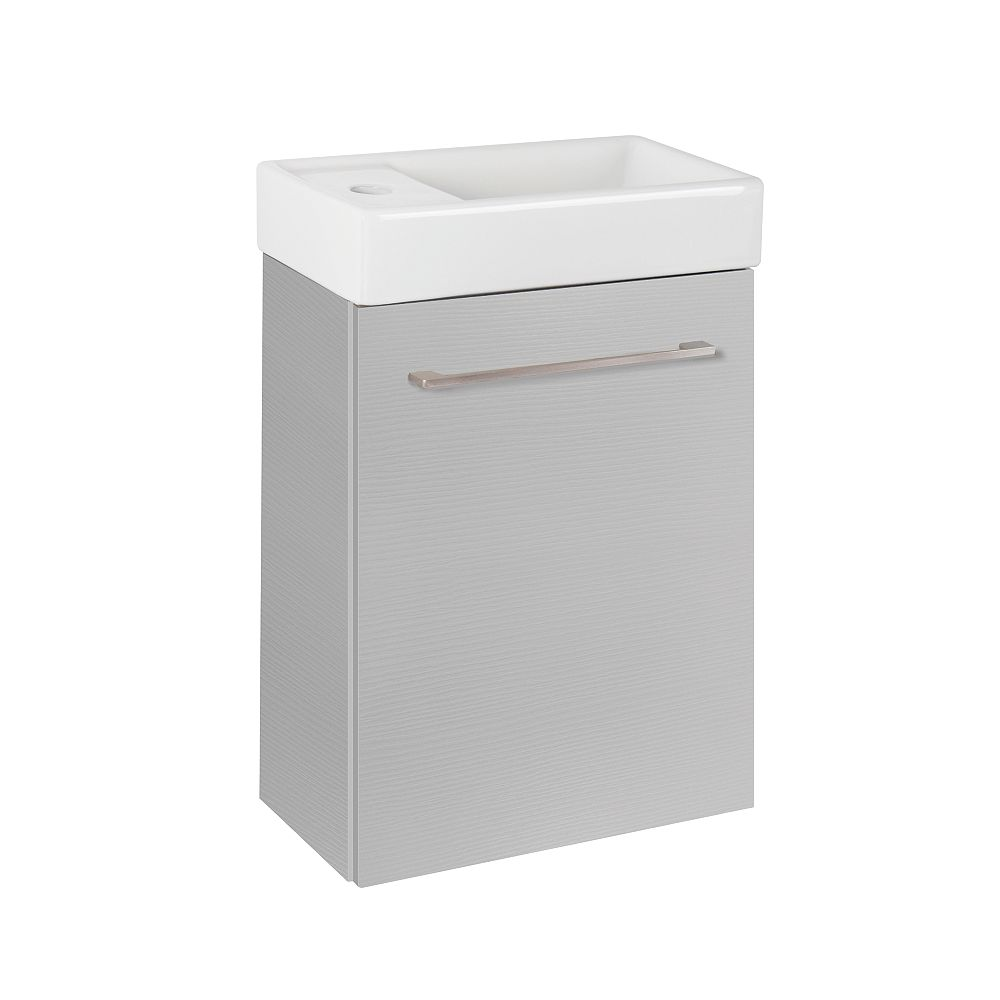 Glacier Bay Clarence 16-inch Wall Hung Vanity in Grey with Reversible Ceramic Top