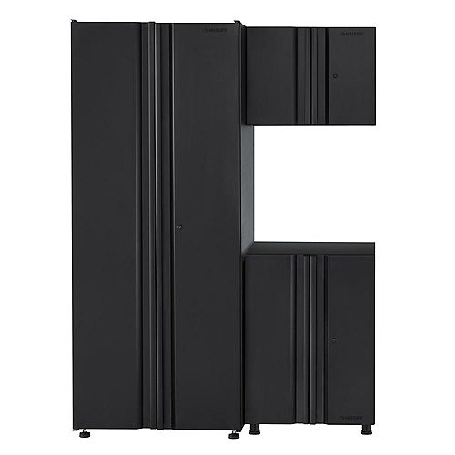 3-Piece Welded 54-inch W x 75-inch H x 19-inch D Steel Garage Cabinet Set in Black