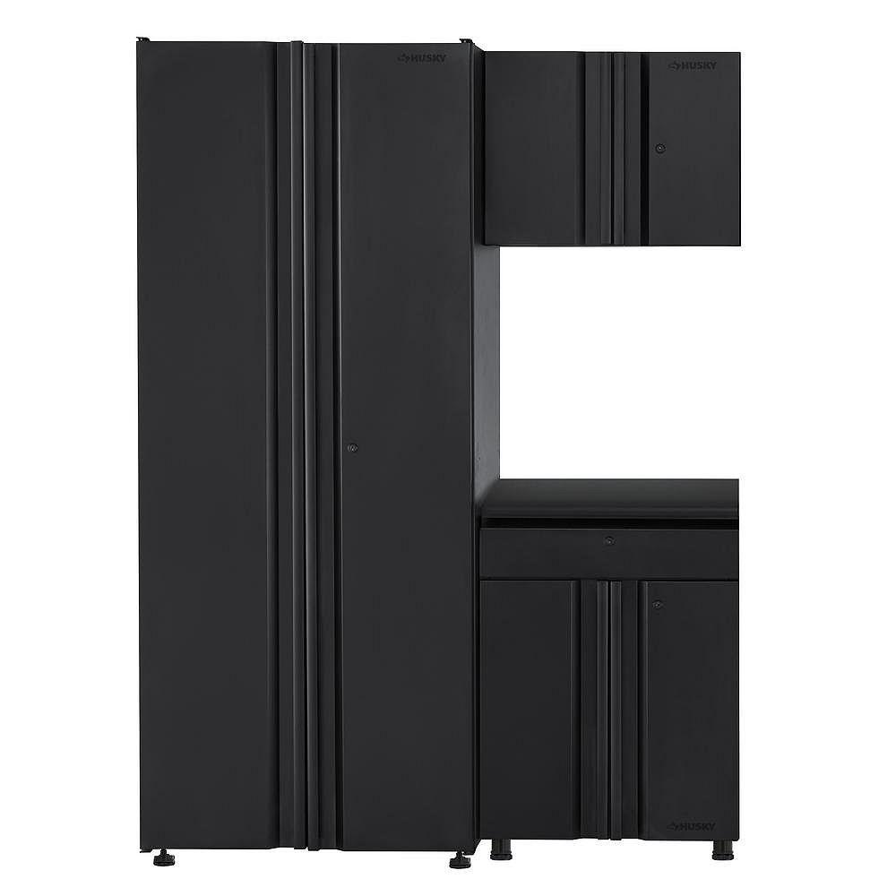 Husky 3-Piece Welded 54-inch W x 75-inch H x 19-inch D Steel Garage Cabinet Set in Black
