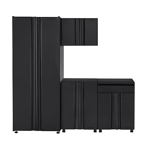 Welded 78 inch W x 75 inch H x 19 inch D Steel Garage Cabinet Set in Black (4-Piece)
