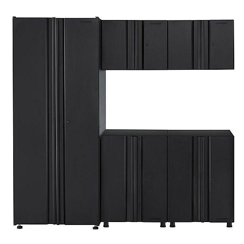 5-Piece Welded 78-inch W x 75-inch H x 19-inch D Steel Garage Cabinet Set in Black