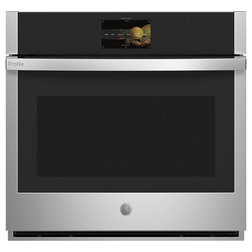 """GE Profile 30"""" Smart Single Electric Wall Oven with Convection Self-Cleaning and Hot-Air Fry in Stainless Steel"""