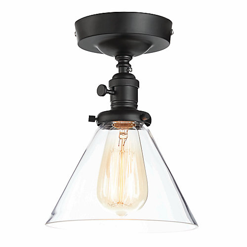 Semi-Flushmount Ceiling Light in Matte Black with Clear Glass Shade