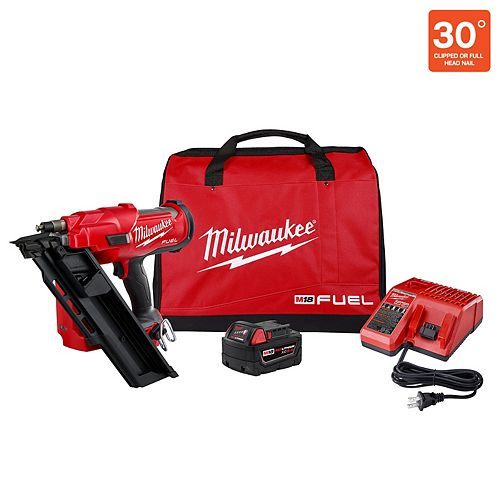 M18 FUEL 3-1/2 -inch 18V 30-Degree Li-Ion Cordless Framing Nailer Kit w/ 5.0 Ah Battery, Charger, Bag
