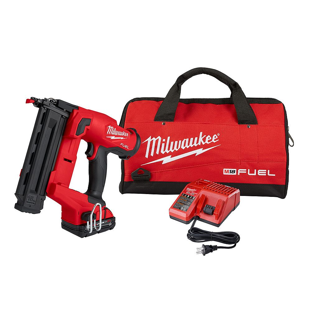 Milwaukee Tool M18 FUEL GEN II 18V Li-Ion Brushless Brad Nailer Kit with (1) 2.0 Ah Battery, Charger and Bag
