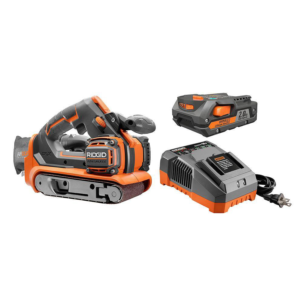 RIDGID 18V Lithium-Ion Cordless Brushless 3 -inch x 18 -inch Belt Sander Kit with Battery and Charger