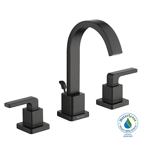 Farrington 8-inch Widespread Two-Handle HIgh-Arc Bathroom Faucet in Matte Black